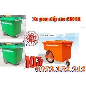 Xe gom đẩy rác 660 lít, giá tốt nhất tại Hà Nội