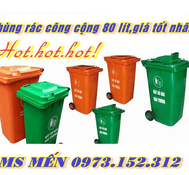 Thùng rác công cộng 80 lit