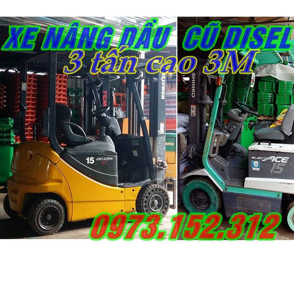 Xe nâng dầu cũ, 3 tấn, cao 3m, giá rẻ