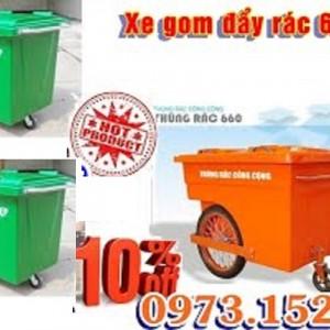 Xe gom rác 660 lít nhựa HDPE