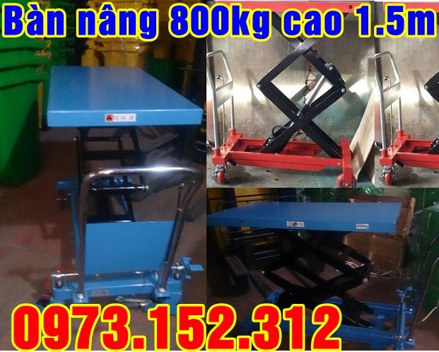 bàn nâng tay 800 kg nâng cao 1.5m, giá rẻ nhất thị trường. Liên hệ 0973.152.312 - Ms Mến