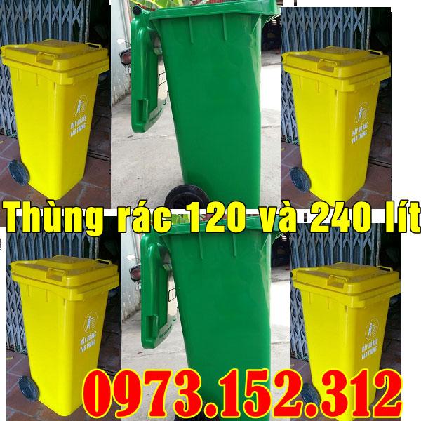Thùng rác nhựa HDPE 120 lít cao cấp