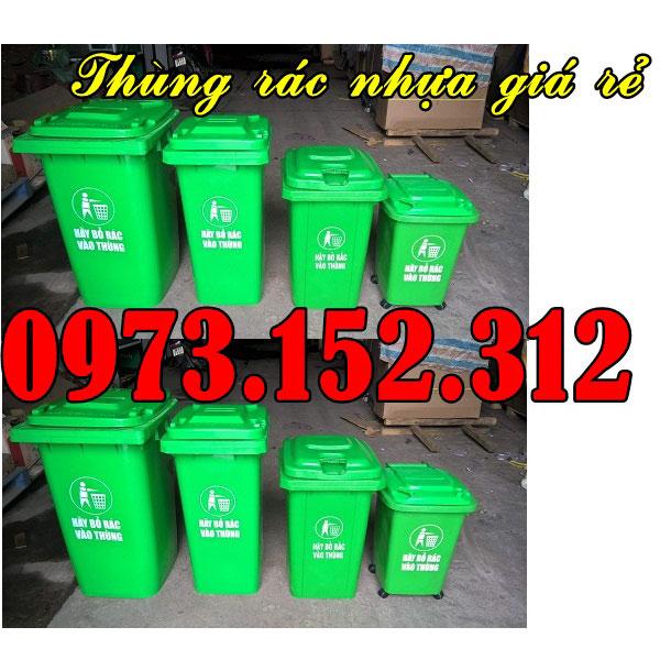 Thùng rác nhựa 120 lít màu xanh. giá rẻ